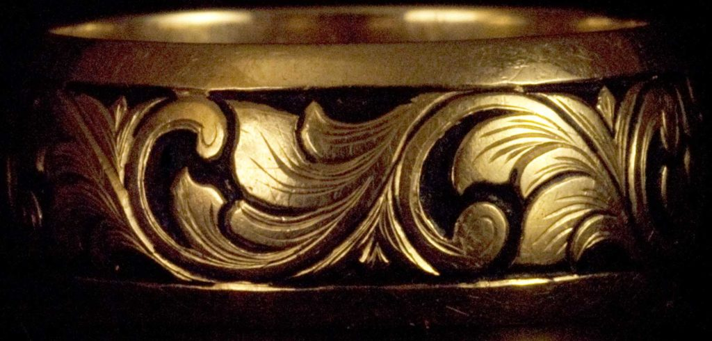 Gold Ring with Hand Engraved Scrolls